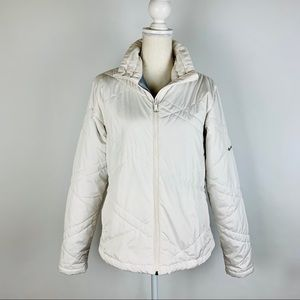 Columbia Light Jacket L White Quilted Puffer Zip